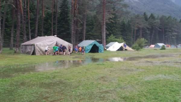 La zona de acampada del grupo scout Calasancio, afectada por la tormenta