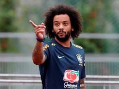 Marcelo, en un entrenamiento con la selección brasileña.