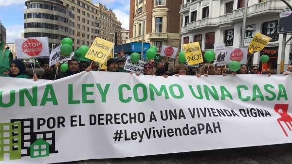 Imagen de archivo de una manifestación de la PAH