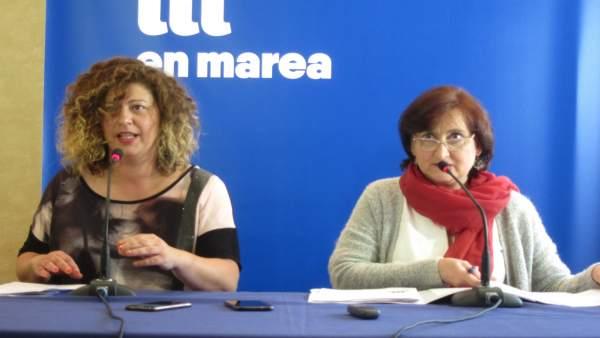Ana Seijas y Victoria Esteban, portavoces de la coordinadora de En Marea