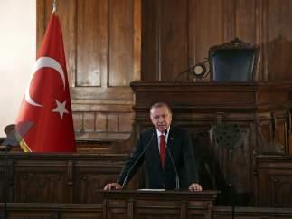 El presidente turco, Recep Tayyip Erdogan, en el antiguo Parlamento en Ankara (Turquía)