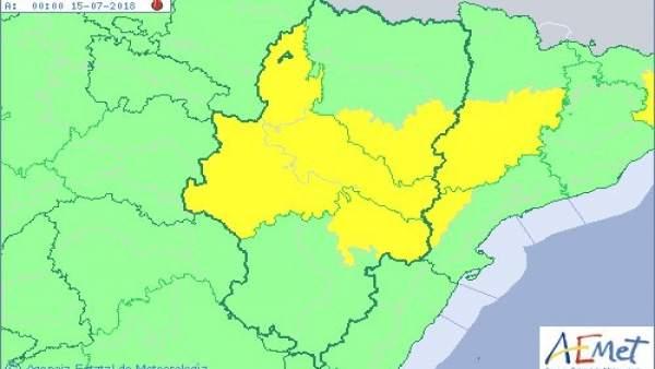 Aviso amarrillo por temperaturas máximas para este sábado