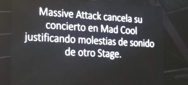 Mensaje en Mad Cool sobre Massive Attack