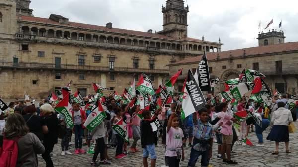 Concentración en apoyo al pueblo saharui en Santiago