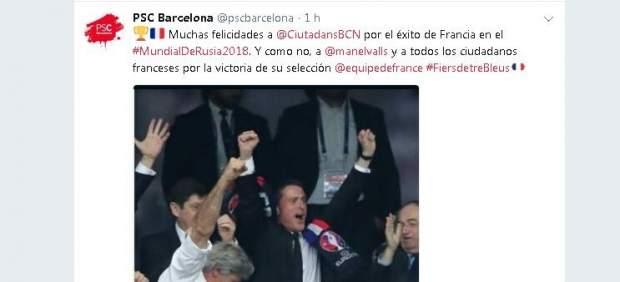 El PSC felicita a Ciudadanos por la victoria de Francia en el Mundial