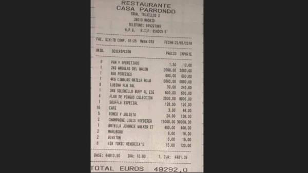 Factura de casi 50.000 euros en el restaurante asturiano Casa Parrondo de Madrid.