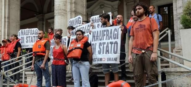 Protesta contra la política migratoria italiana