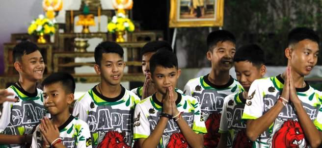 Los niños rescatados de la cueva de Tailandia.