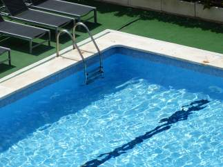 Hotel, piscina, calor, verano, nadar