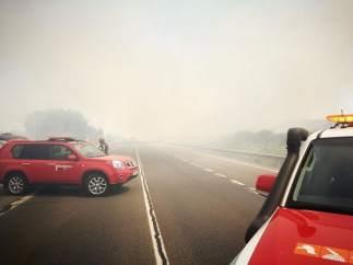 Un instante de la cantidad de humo que invadía la N332 en Pedreguer