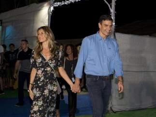 Pedro Sánchez y su esposa, en el concierto de The Killers