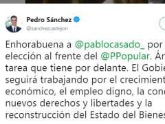 """Sánchez felicita a Casado: """"Ánimo en la tarea que tienes por delante"""""""