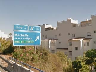 Vista de una de las entradas a Marbella (Málaga).
