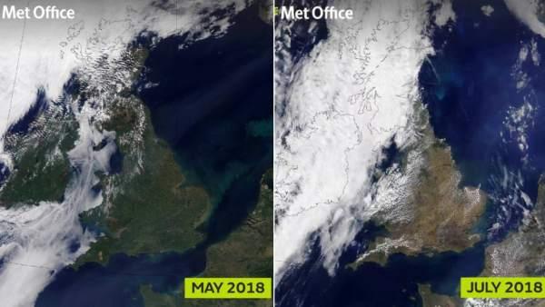 Imágenes por satélite que muestran la pérdida de vegetación en Reino Unido