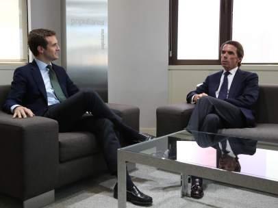 Casado y Aznar, en el despacho del presidente del PP.