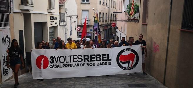 Manifestación del grupo antifascista del distrito Nou Barris.