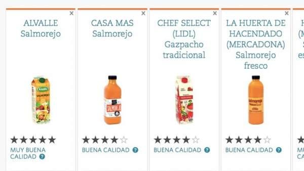 Comparación de gazpachos y salmorejos de supermercado.