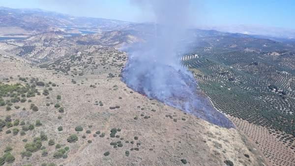 Incendio agrícola en Cuevas de San Marcos
