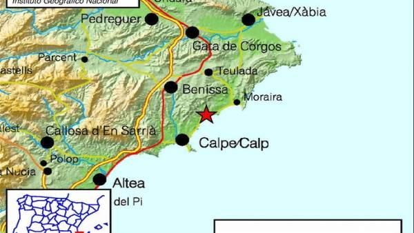 La Marina Alta registra tres terratrèmols amb una magnitud d'entre 2 i 3,1