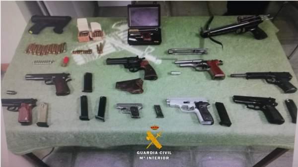 Armas incautadas a un vecino de Villanubla 26-7-2018