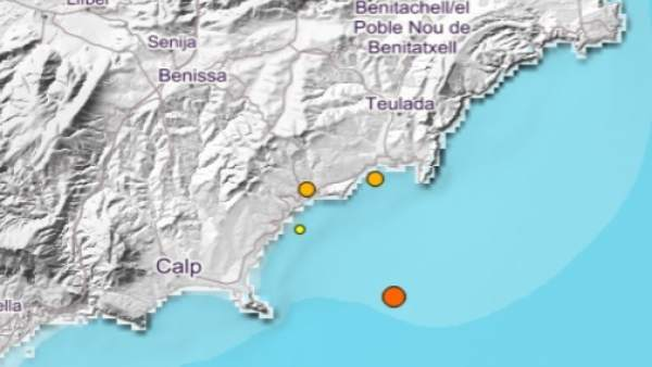 Lugar exacto donde se han registrado los terremotos en la Marina Alta