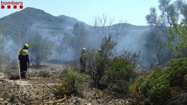 Dos bomberos trabajando en la extinción del incendio de Tivissa