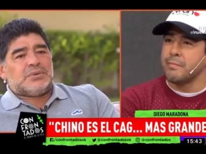 Maradona entra en directo en un programa de tv para insultar a su sobrino.