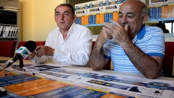 El alcalde de Golmayo (izq) junto al técnico del consistorio