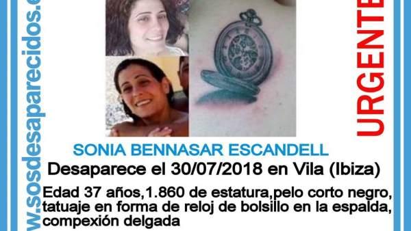 Cartel de la mujer desaparecida en IBiza, Sonia Bennasar