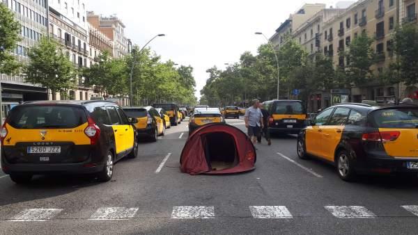 Huelga de taxis en Barcelona