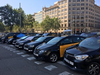 Huelga de taxis en Barcelona.