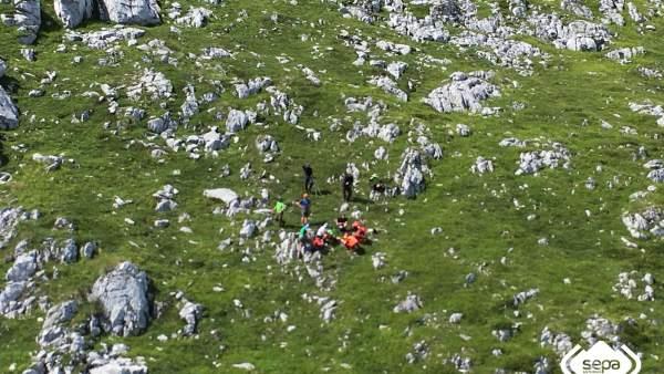 Rescate de un senderista en Picos de Europa