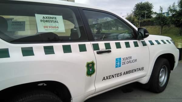 Agentes forestales en huelga, el pasado 25 de julio