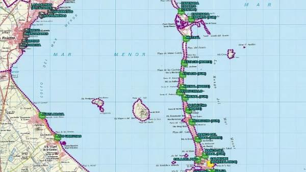 Mapa banderas playas puestos de vigilancia Plan Copla
