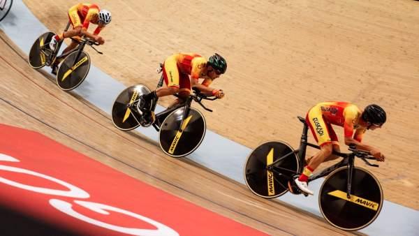 Entrnamiento de la selección española de ciclismo en pista
