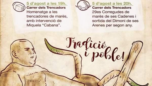 Cartel del homenaje a les trencadores de Ses Cadenes