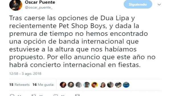 Valladolid.- Tuit de Óscar Puente