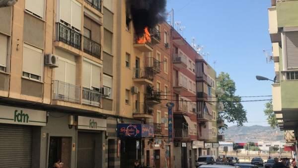 Incendio en un edificio de Xàtiva