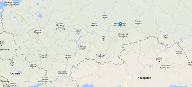 Localización de Ekaterimburgo (Rusia)