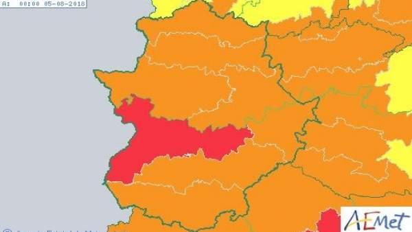 Avisos meteorológicos en Extremadura para el sábado