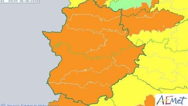 Avisos de nivel naranja por calor en Extremadura para este domingo