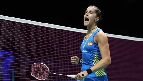 Carolina Marín celebra un punto en el Campeonato del Mundo