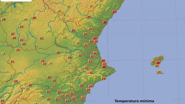 Temperaturas mínimas registradas el 5 de agosto de 2018