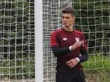 Kepa, en un entrenamiento con el Athletic Club.