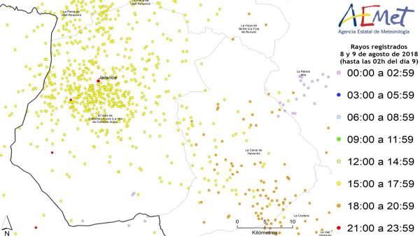 Cauen més de 1.300 rajos, la meitat en la comarca de la Vall de Cofrents-Aiora