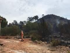 Trabajos de extinció del incendio de Llutxent