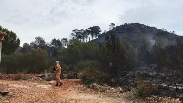Estabilitzat l'incendi de Llutxent