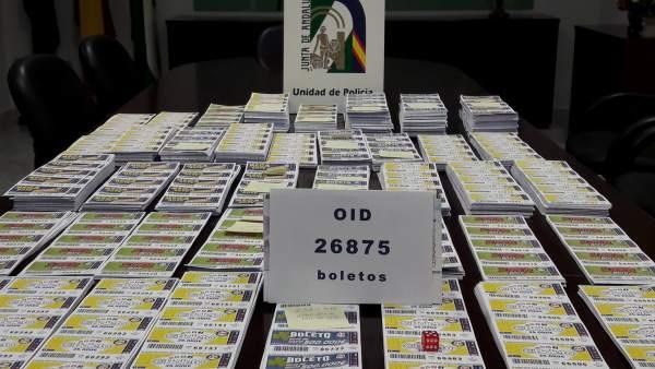 Boletos de lotería ilegal intervenidos