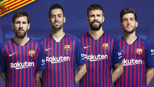 Leo Messi, Sergio Busquets, Gerard Piqué y Sergi Roberto.