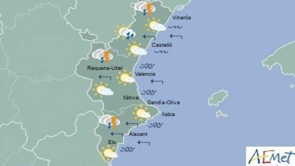 Predicción de Aemet para la Comunitat Valenciana del 11 de agosto